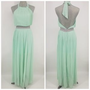 Lucy Paris Mint Pleated Maxi Dress Sz S